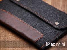 iPad mini case. Felt ipad mini case with button closure. Dark felt Ipad mini sleeve. Ipad mini leather cover. Ipad air case on Etsy, $22.90