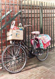 Electra Vélo Panier de dépôt Violet Vert Motif Guidon Sac à provisions utilisation