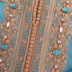 Beaded Embroidery, Embroidery Designs, Arabic Dress, Moroccan Dress, Patches, Detail, Elegant, Fabric, Inspiration