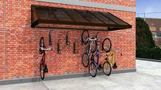 Custom: Sidewalk Canopy Bike Wall Storage, Outdoor Bike Storage, Diy Fire Pit, Fire Pit Backyard, Bike Shelter, Corner Sheds, Bike Storage Solutions, Range Velo, Bike Cover