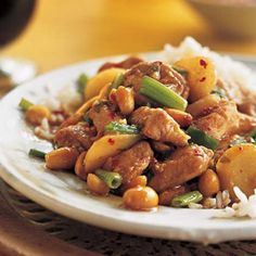 "Sichuan-Style Stir-Fried Chicken With Peanuts  Also known as kung pao chicken, this 5-Star Sichuan classic boasts multidimensional hot-sweet and salty-sour flavors. As one user review put it, ""It is, hands-down, the best stir-fry chicken recipe I've ever tried."" Serve this soon-to-be favorite with rice and a steamed vegetable."