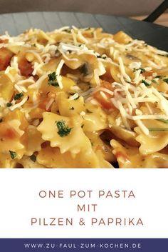 """Herzhaft und Lecker One Pot Pasta mit Pilzen und Paprika Heute musste es mal sein, ich habe mir meinen ersten One Pot Pasta mit Pilzen und Paprika zubereitet! Und ich muss zugeben, dass dieses einfache Rezept sehr lecker ist! Wer von euch Pasta liebt, dem kann ich nur eins Empfehlen """"Unbedingt einmal ausprobieren""""!"""