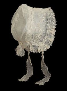 Cap about 1830 Dimensions 28 x cm x 8 in.) Accession Number Medium or Technique Cotton mull with cotton . Antique Lace, Vintage Lace, Vintage Dresses, Vintage Outfits, Historical Costume, Historical Clothing, Estilo Lolita, Victorian Hats, Baby Bonnets