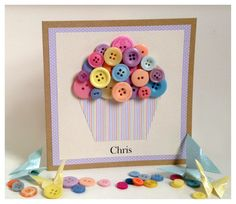 Free UK postage - Handmade Button Cupcake Greeting Card - Birthday - anniversary…