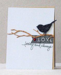 Angeline YJL - felt, cork, washi tape, brad. Bird die, Branch die