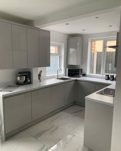 Our kitchen finally done! Open Plan Kitchen Diner, New Kitchen, Kitchen Flooring, Kitchen Cabinets, Handleless Kitchen, Granite Worktops, Kitchens, Quartz, Projects
