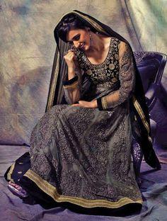 Fascinating Grey Zari Embroidered Long Anarkali Salwar Suit