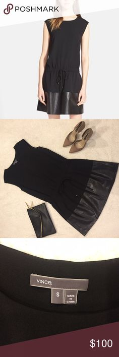 Vince black leather contrast band dress size small This dress has never been worn. Tags have been removed. Genuine leather band and tie cinch waist. Size small. Vince Dresses Mini