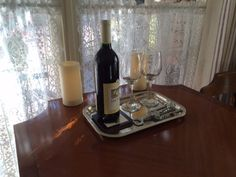 Complimentary bottle of a Sonoma County wine and flickering candles greet guests.