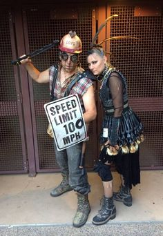 Phoenix Comicon 2014 -Auntie Virus in her barbie skirt with Mick Awful