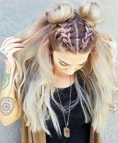 boho candy colour hair. braids.