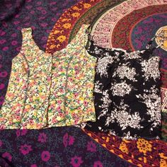 Bundle of two floral tank tops Bundle of two cute floral tank tops. Black and white one from Pacsun and the colored one is from Urban Outfitters. Both in good condition! Kimchi Blue Tops