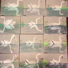 Swan Reflections - Art Teacher in LA Classroom Art Projects, School Art Projects, Art Classroom, 3rd Grade Art Lesson, Third Grade Art, Art Lessons Elementary, Art Lessons For Kids, Art Attack Ideas, Doodle Drawing