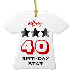 40th Birthday or ANY AGE Striped Stars Custom Name Christmas Tree Ornament   To see more customizable striped Jaclinart gift items:   http://www.zazzle.com/jaclinart+striped+gifts?st=date_created&ps=120  #stripes #striped #pattern #jaclinart #design #create