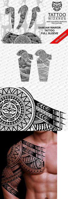 Temporary Tattoos: Maori Samoan Polynesian Warrior Full Sleeve Tattoo Stencil Template BUY IT NOW ONLY: $45.5