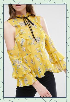 Off Shoulder Women Tops Sexy Wrap Office Lady Slim Ruffle Shirts Vintage Floral Print Casual Frill BlouseFloral printed off the shoulder blouses womens tie neck vintage blouses ladies ruffled sexy blouses fall OL formal tops for workUnbranded Women's Formal Tops, Frill Blouse, Look Fashion, Womens Fashion, Blouse Vintage, Vintage Floral, Ruffle Shirt, Vintage Mode, Office Ladies