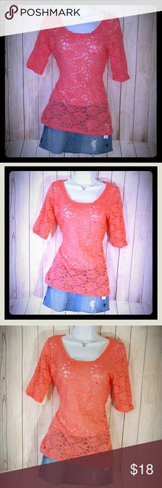 """Maurices Lace See Through Top Coral Pink Overlay Gorgeous top from Maurices! The color is a coral or pinkish color. It is still new with tags. It is see through, so it would look great with a cute cami, bralette or bathing suit underneath! Size medium, but stretchy. Laying flat and unstretched, it measures 17.5"""" across the chest, 27"""" long.   Smoke free home. I will gladly bundle items to give you a discount (the more you buy, the cheaper I can let everything go!). Many items can be added on…"""