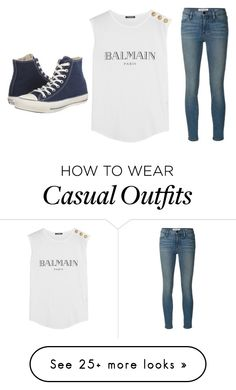 """Casual"" by koala105 on Polyvore featuring Frame Denim, Converse and Balmain"