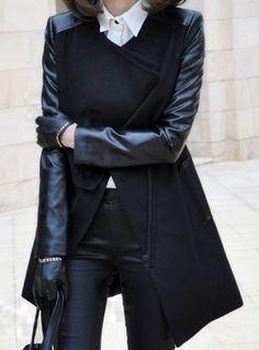 Black Contrast PU Leather Sleeve Double Lapel Zipper Coat US$79.80