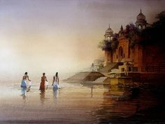Amit Bhar's paintings available as Limited Edition HD Print on Canvas. This Indian artwork Banaras Ghat Series with SKU is available exclusively at ArtCollective. This painting is in the collection SPIRITUAL Indian Artwork, Indian Paintings, Cool Paintings, Original Paintings, Watercolor Landscape, Landscape Paintings, Watercolor Paintings, Landscapes, Watercolors