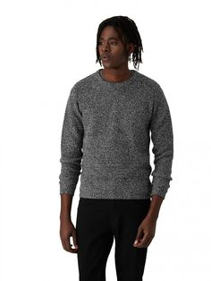 """Unlike your parents' old TV, the scattered tones on this cozy crewneck are just what your holiday season needs.Mixed yarn for two-tone effect50% wool, 50% acrylicModel measurements: chest: 37""""; waist: 32""""; hips:"""