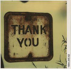 """Walker Evans, """"Thank You"""" sign, 1973"""