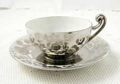 Limoges Silver Tea Cup and Saucer Vintage Bone China by TheAcreage                                                                                                                                                                                 More