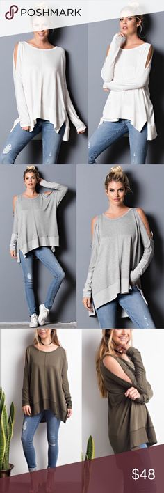 SAMMIE Cold Shoulder Long Sleeve Top - IVORY Cold shoulder top. 72% rayon, 24% viscose, 4% spandex. Available in olive, ivory & H. grey. NO TRADE, PRICE FIRM Bellanblue Tops Tees - Long Sleeve
