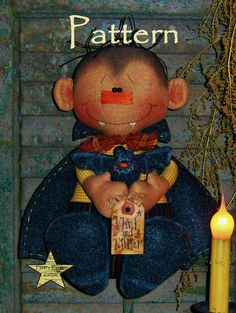 Primitive Patti's Ratties Vlaud and Nibbler Halloween Doll Pattern #164