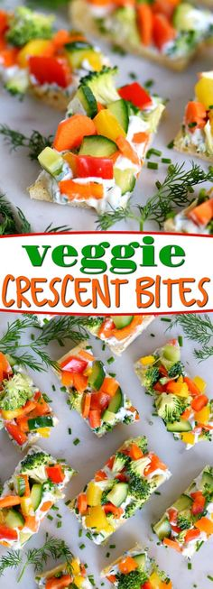 Veggie Crescent Bites are a delightfully light appetizer that everyone will enjoy! Full of flavor and crunch - these little bites are sure to please! // Mom On Timeout #appetizer #veggies #vegetables #gameday #summer #creamcheese