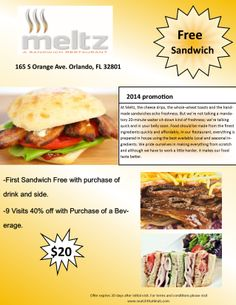 We have a great promotion going on with Meltz an awesome new sandwich place DOWNTOWN! Buy a $20 promo card and get your first sandwich FREE with the purchase of a drink and side!!  Then you can use your promo card for 40%OFF with the purchase of a drink for your next 9 visits!!  Call Adriana today for your promo card! (239) 641-6489