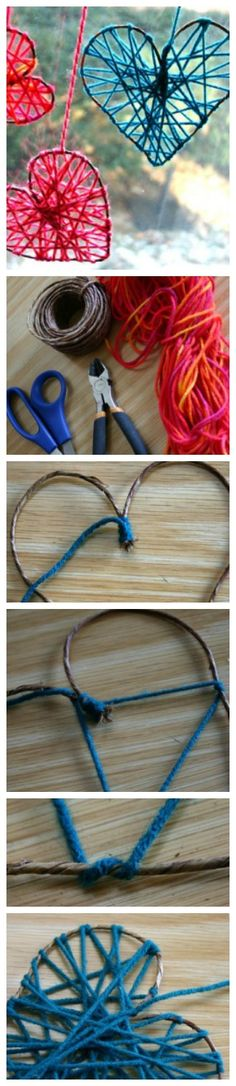 Yarn Hearts Craft Tutorial from Country Woman -- shared by Camilla Fabbri of Family Chic