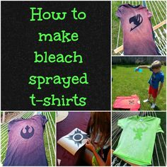 Sew T-Shirt You could easily use this method to make so many different projects with cotton fabric! - Bleach sprayed t-shirts are a fun and easy way to customize a boring t-shirt. Bleach Spray Shirt, Bleach T Shirts, Paint Shirts, Bleach Art, Bleach Tie Dye, Upcycled Crafts, Sewing Crafts, Sewing Projects, Diy Projects