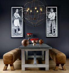 Benches Gym Horse, wood, leather, table Boston, steel, oak, chandelier Gyro Crystal, metal, glass. In creating these items Timothy Oulton drew inspiration from ancient sport aesthetics. Portrait: designer Timothy Oulton