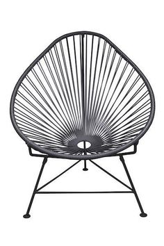 The Innit Chair - contemporary lounge or occasional chair suitable for indoors and out. æComposed of a tripod metal base and seat woven with vinyl cord. æThe Innit chair is similar in construction and form to our Acapulco chair though slightly le Contemporary Lounge, Modern Lounge, Modern Patio, Modern Chairs, Midcentury Modern, Acapulco Chair, Patio Lounge Chairs, Arm Chairs, Dining Chairs