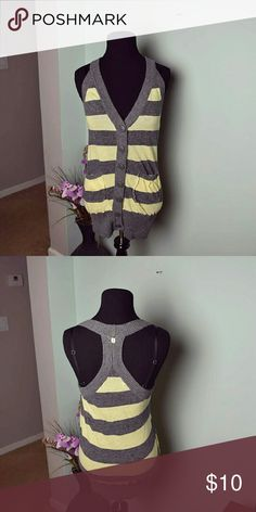 Super Cute Grey & Yellow Striped Sleevele Cardigan In excellent condition! Tops Blouses