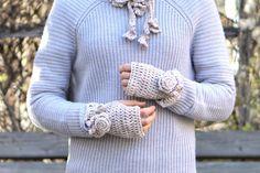 Classic Rose Fingerless gloves Ivory Hand by ValerieBaberDesigns