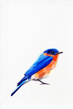 Bluebird, Geometric illustration, American Bluebird, Bird print, Original illustration
