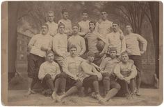1870 Yale Football Team Cabinet Card with Walter Camp. Exceedingly rare and historically significant 4.25 x 6.5'' cabinet card of the 1879 Yale Football team with a young Walter Camp standing third from the left, football in hand. At the time that this photo was taken, the game of Football was played more like Rugby.  $3645