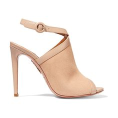 On SALE at 55% OFF! eddie leather-trimmed suede sandals by Aquazzura. Italian sizing Heel measures approximately 105mm/ 4 inches . Taupe leather, beige suede . Buckle -fastening slingback...