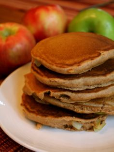 Whole Wheat Apple Cider Pancakes (egg, nut, and dairy free!)
