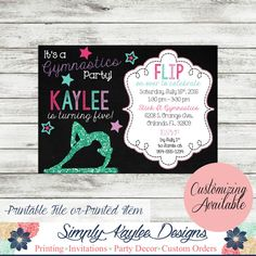 Gymnastics Birthday Invitation by SimplyKayleeDesigns on Etsy