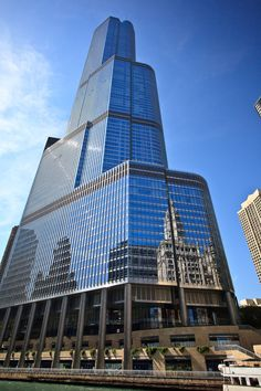 Trump Tower, Chicago, Illinois - Trump Tower Chicago boasts the highest residential unit in North America. The penthouse, unit 89PH recently went on the market for $32,000,000. 360 degree views of Chicago from 16 ft. floor to ceiling windows.