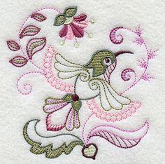 Jacobean Embroidery | Vintage Jacobean Hummingbird 1