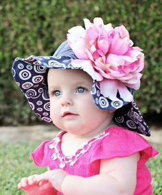 Another great find on #zulily! Navy Blue & Pink Peony Flower Sunhat #zulilyfinds