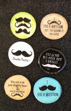 Funny Mustache Sayings Magnets set of 6 by CustomMadeMagnets