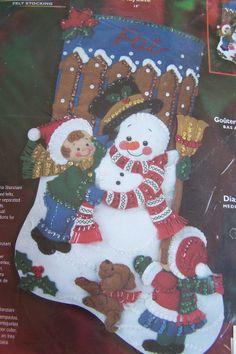 """Bucilla """" PLAYDATE """"  18"""" Felt Stocking Kit Children with Snowman"""