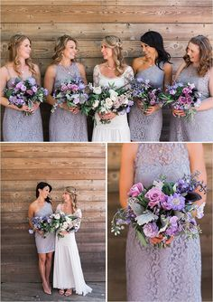 Bridesmaids in mix n match lace lavender dresses