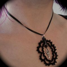 Tatted Lace Cameo Pendant - But Where's The Lock - Black $16