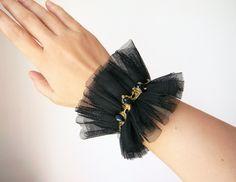 Black tulle ruffle cuff Gothic Lolita bracelet cuff with crystals Goth wrist cuff Wide bracelet Textile jewelry Fabric wrist cuff Armband by Elyseeart on Etsy Lace Cuffs, Lace Gloves, Diy Fashion, Ideias Fashion, Fashion Tips, Fashion Hacks, Punk Fashion, Lolita Fashion, Fashion 2020